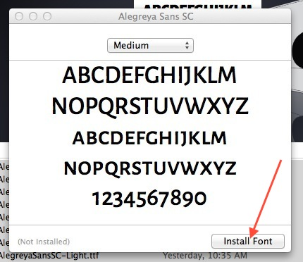 install google font in font book