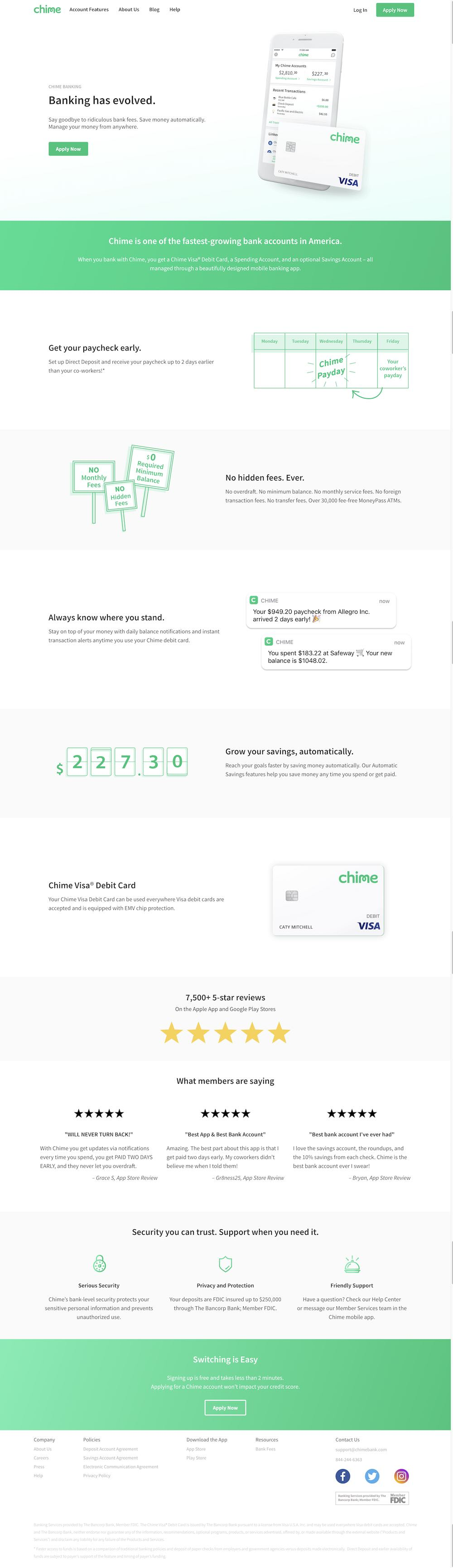 Chime Bank Website Design