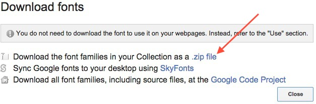 download google font as a zip file