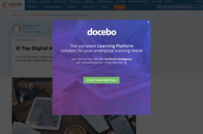 eLearning Industry Popup Design