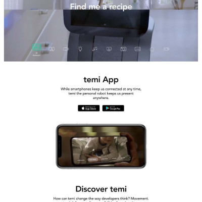 Temi Robot Website Design