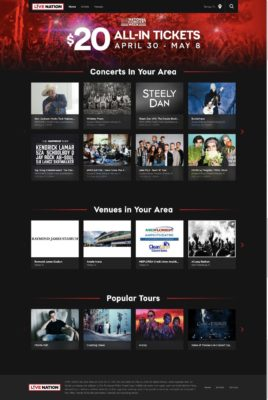 Live Nation Website Design
