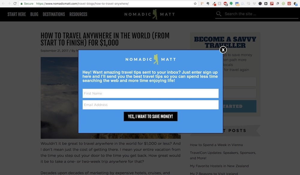 Nomadic Matt Website Design