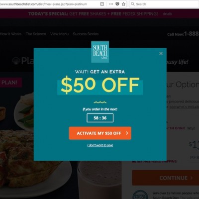 South Beach Diet Popup Design