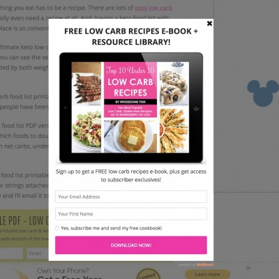 Wholesome Yum Popup Design